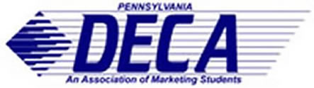 D.E.C.A. of Pennsylvania logo. Stnds for Distributive Education Clubs of America. For Marketing Students